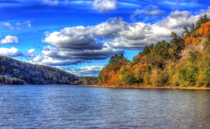 Wisconsin, lake, Devil's Lake, clouds