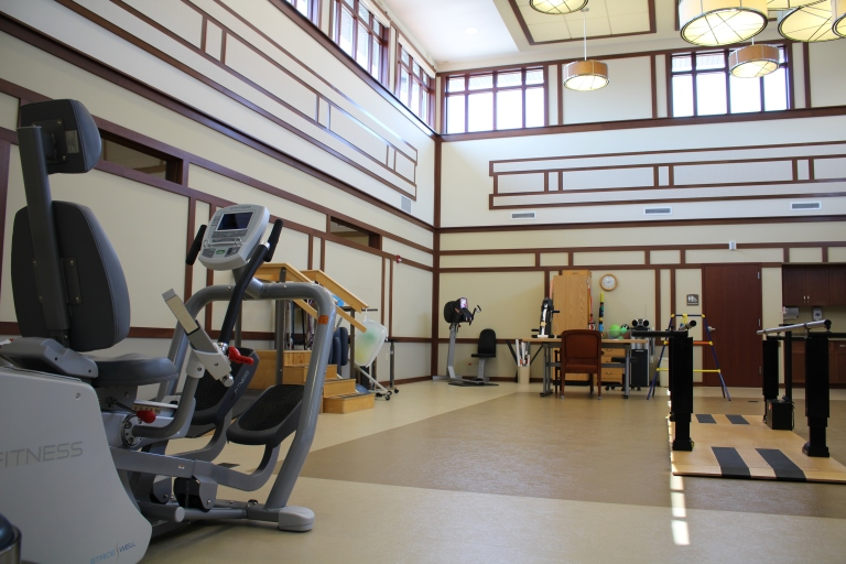 therapy gym, three pillars senior living communities, short term rehab, subacute rehabilitaiton